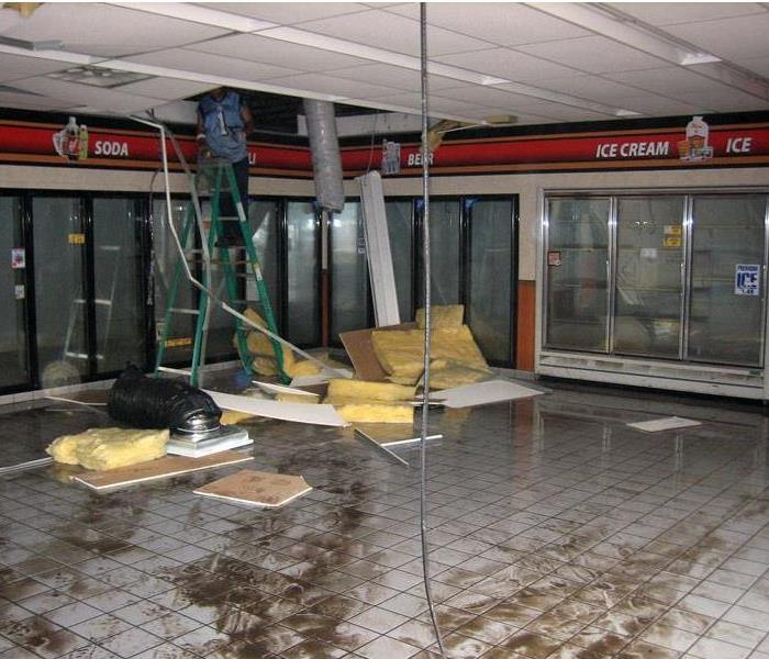 Storm damage at gas station